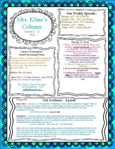 Our Weekly Specials Mrs Klines Column Monday 108