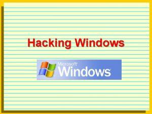 Hacking Windows Windows l Windows basic security Net