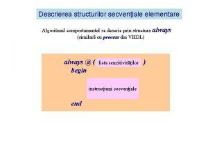Descrierea structurilor secveniale elementare Algoritmul comportamental se descrie