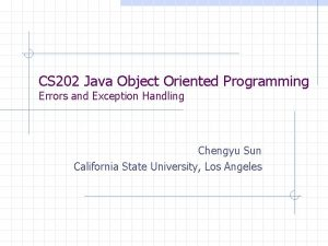 CS 202 Java Object Oriented Programming Errors and