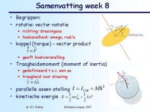 Samenvatting week 8 Begrippen rotatie vector notatie richting