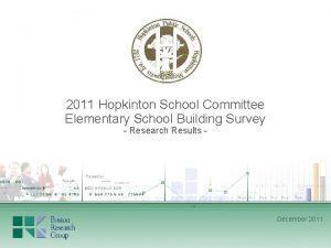 2011 Hopkinton School Committee Elementary School Building Survey