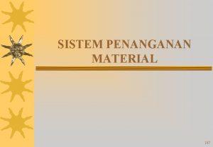 SISTEM PENANGANAN MATERIAL 167 Penanganan Material Material Handling