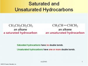 Saturated and Unsaturated Hydrocarbons Saturated hydrocarbons have no