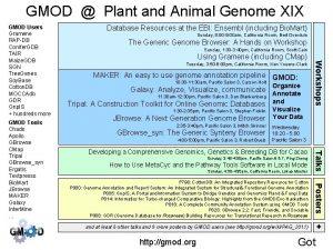 GMOD Plant and Animal Genome XIX Sunday 8