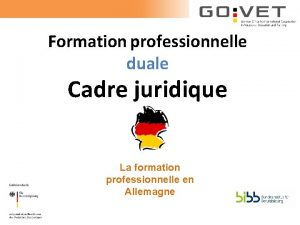 Formation professionnelle duale Cadre juridique La formation professionnelle