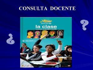CONSULTA DOCENTE Formas Organizativas de Enseanza Consultas docentes