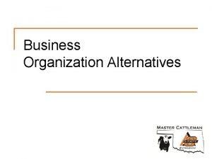 Business Organization Alternatives Organization Alternatives n Sole proprietorship