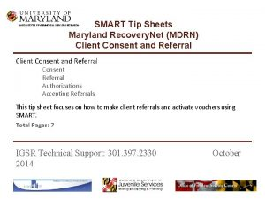SMART Tip Sheets Maryland Recovery Net MDRN Client