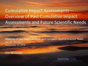Cumulative Impact Assessments Overview of Past Cumulative Impact