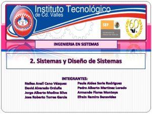 INGENIERIA EN SISTEMAS 2 Sistemas y Diseo de