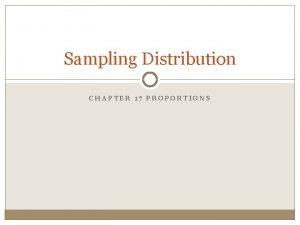 Sampling Distribution CHAPTER 17 PROPORTIONS Central Limit Theorem