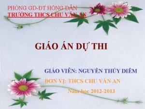 PHNG GDT HNG D N TRNG THCS CHU