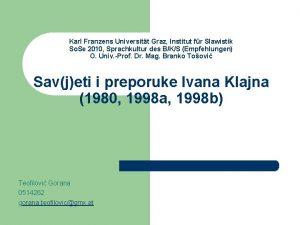 Karl Franzens Universitt Graz Institut fr Slawistik So