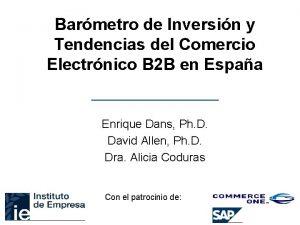 Barmetro de Inversin y Tendencias del Comercio Electrnico