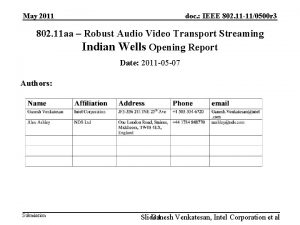 May 2011 doc IEEE 802 11 110500 r