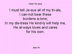 I Must Tell Jesus I must tell Jesus