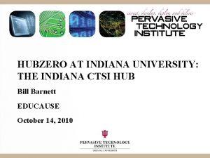 HUBZERO AT INDIANA UNIVERSITY THE INDIANA CTSI HUB