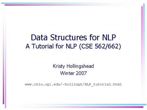 Data Structures for NLP A Tutorial for NLP