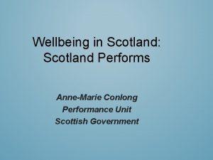 Wellbeing in Scotland Scotland Performs AnneMarie Conlong Performance