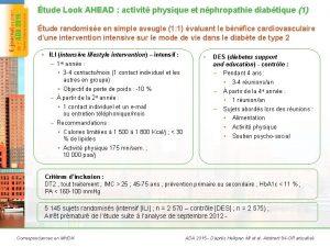 tude Look AHEAD activit physique et nphropathie diabtique