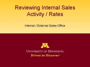 Reviewing Internal Sales Activity Rates Internal External Sales