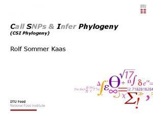 Call SNPs Infer Phylogeny CSI Phylogeny Rolf Sommer