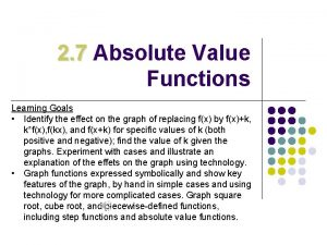 2 7 Absolute Value Functions Learning Goals Identify
