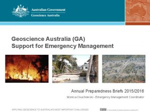 Geoscience Australia GA Support for Emergency Management Annual