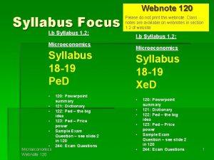 Syllabus Focus I b Syllabus 1 2 Microeconomics