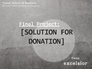 Yonsei School of Business BIZ 3182 Product and