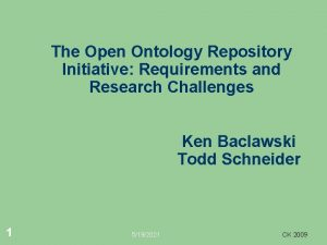 The Open Ontology Repository Initiative Requirements and Research
