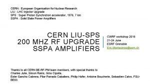 CERN European Organisation for Nuclear Research LIU LHC