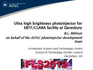 Ultra high brightness photoinjector for EBTFCLARA facility at