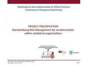 Workshop on the modernisation of official Statistics Conference