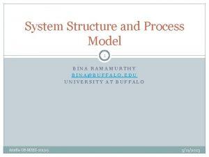 System Structure and Process Model 1 BINA RAMAMURTHY