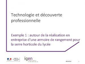 Technologie et dcouverte professionnelle Exemple 1 autour de