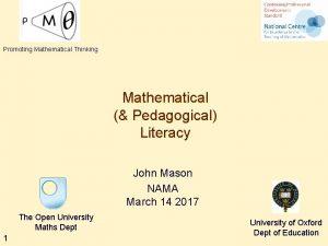 Promoting Mathematical Thinking Mathematical Pedagogical Literacy John Mason