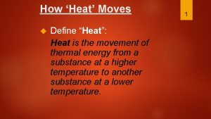 How Heat Moves Define Heat Heat is the