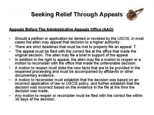Seeking Relief Through Appeals Before The Administrative Appeals
