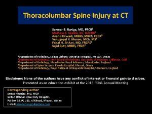 Thoracolumbar Spine Injury at CT Sameer B Raniga