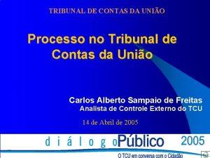 TRIBUNAL DE CONTAS DA UNIO Processo no Tribunal