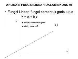 APLIKASI FUNGSI LINEAR DALAM EKONOMI Fungsi Linear fungsi