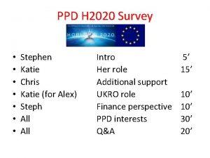 PPD H 2020 Survey Stephen Katie Chris Katie