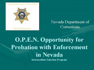 Nevada Department of Corrections Reentry Services Nevada Department