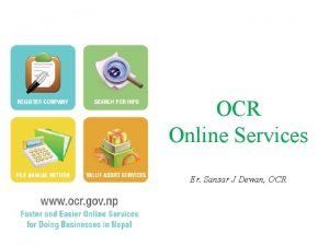 OCR Online Services Er Sansar J Dewan OCR