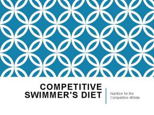 COMPETITIVE SWIMMERS DIET Nutrition for the Competitive Athlete