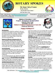 ROTARY SPOKES The Rotary Club of Ventura Weekly