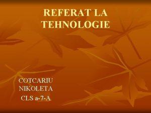 REFERAT LA TEHNOLOGIE COTCARIU NIKOLETA CLS a7 A