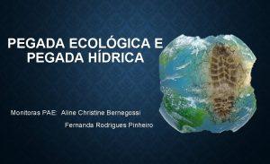 PEGADA ECOLGICA E PEGADA HDRICA Monitoras PAE Aline